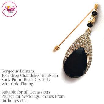 Madz Fashionz UK: Dalnaaz Chandelier Drop Hijab Pin Stick Pin Hijab Jewels Hijab Pins Gold Black