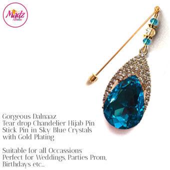 Madz Fashionz UK: Dalnaaz Chandelier Drop Hijab Pin Stick Pin Hijab Jewels Hijab Pins Gold Sky Blue