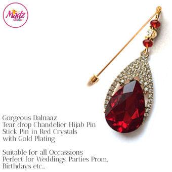 Madz Fashionz UK: Dalnaaz Chandelier Drop Hijab Pin Stick Pin Hijab Jewels Hijab Pins Gold red