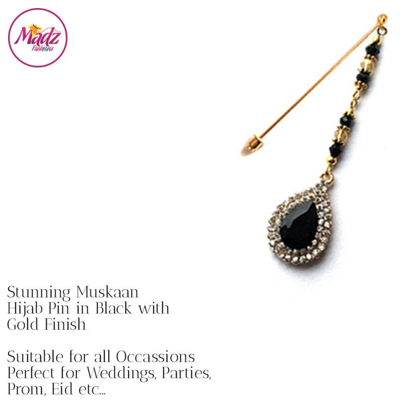 Madz Fashionz UK: Muskaan Chandelier Hijab Pin Stick Pin Hijab Jewels Hijab Pins Gold Black