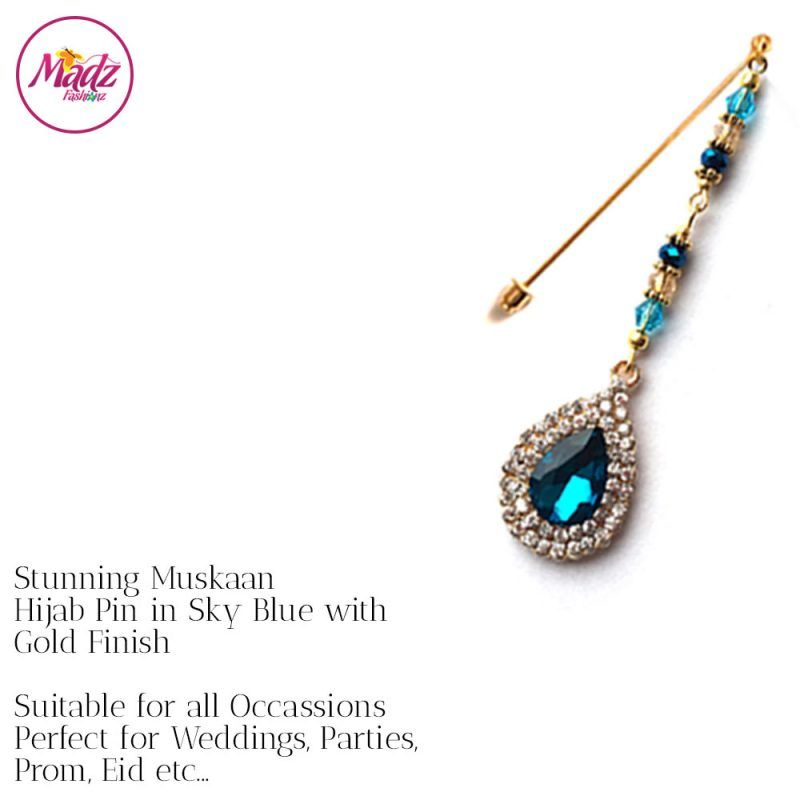 Madz Fashionz UK: Muskaan Chandelier Hijab Pin Stick Pin Hijab Jewels Hijab Pins Gold Sky Blue