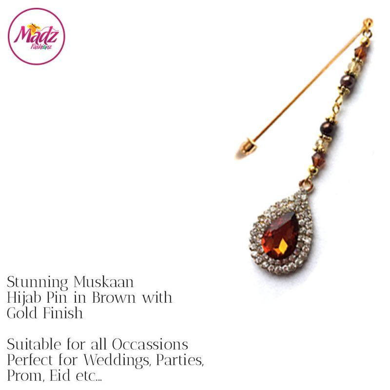 Madz Fashionz UK: Muskaan Chandelier Hijab Pin Stick Pin Hijab Jewels Hijab Pins Gold Brown