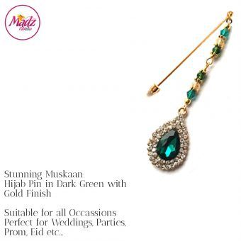 Madz Fashionz UK: Muskaan Chandelier Hijab Pin Stick Pin Hijab Jewels Hijab Pins Gold Green Dark