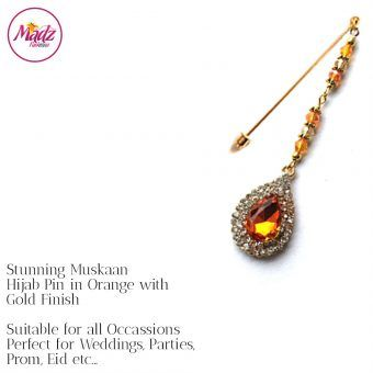 Madz Fashionz UK: Muskaan Chandelier Hijab Pin Stick Pin Hijab Jewels Hijab Pins Gold Orange