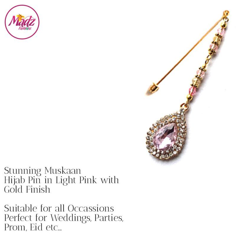 Madz Fashionz UK: Muskaan Chandelier Hijab Pin Stick Pin Hijab Jewels Hijab Pins Gold Light Pink