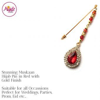 Madz Fashionz UK: Muskaan Chandelier Hijab Pin Stick Pin Hijab Jewels Hijab Pins Gold Red