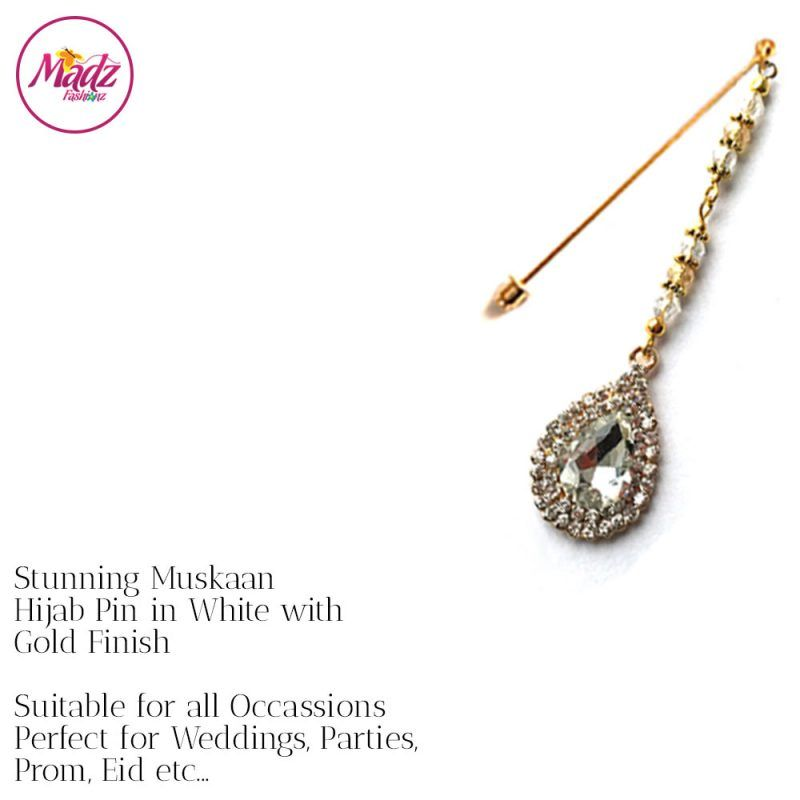 Madz Fashionz UK: Muskaan Chandelier Hijab Pin Stick Pin Hijab Jewels Hijab Pins Gold White