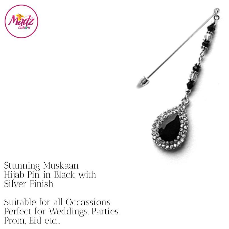 Madz Fashionz UK: Muskaan Chandelier Hijab Pin Stick Pin Hijab Jewels Hijab Pins Silver Black