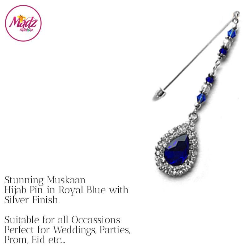 Madz Fashionz UK: Muskaan Chandelier Hijab Pin Stick Pin Hijab Jewels Hijab Pins Silver Royal Blue