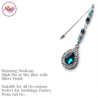 Madz Fashionz UK: Muskaan Chandelier Hijab Pin Stick Pin Hijab Jewels Hijab Pins Silver Sky Blue