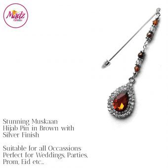 Madz Fashionz UK: Muskaan Chandelier Hijab Pin Stick Pin Hijab Jewels Hijab Pins Silver Brown