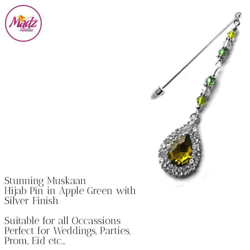 Madz Fashionz UK: Muskaan Chandelier Hijab Pin Stick Pin Hijab Jewels Hijab Pins Silver Apple Green