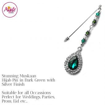 Madz Fashionz UK: Muskaan Chandelier Hijab Pin Stick Pin Hijab Jewels Hijab Pins Silver Dark Green