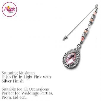 Madz Fashionz UK: Muskaan Chandelier Hijab Pin Stick Pin Hijab Jewels Hijab Pins Silver Light Pink