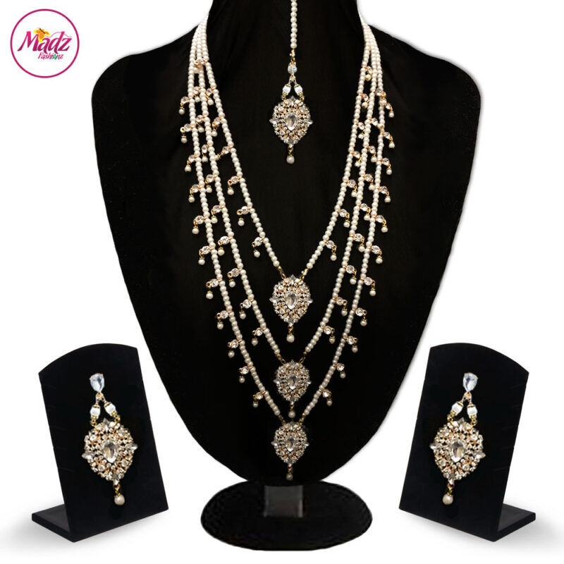 Madz Fashionz UK: Noor Jehan Kundan Long Haar Necklace Earring Tikka Set