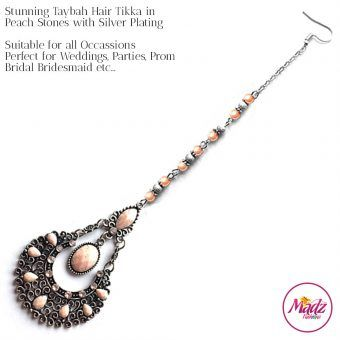 Madz Fashionz UK Taybah Hair Tikka Maang Tikka Matha Patti Silver Peach
