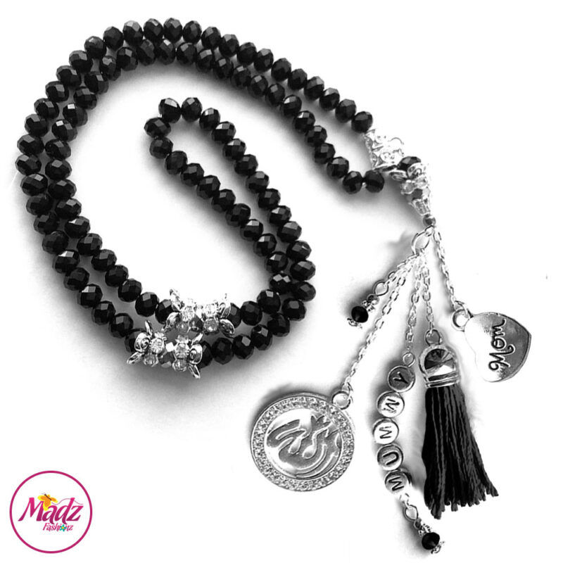 Madz Fashionz UK: 99 Beads Personalised Tasbeeh with Black Crystals in Silver Finish