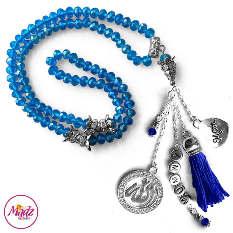 Madz Fashionz UK: 99 Beads Personalised Tasbeeh with Sky Blue Crystals in Silver Finish