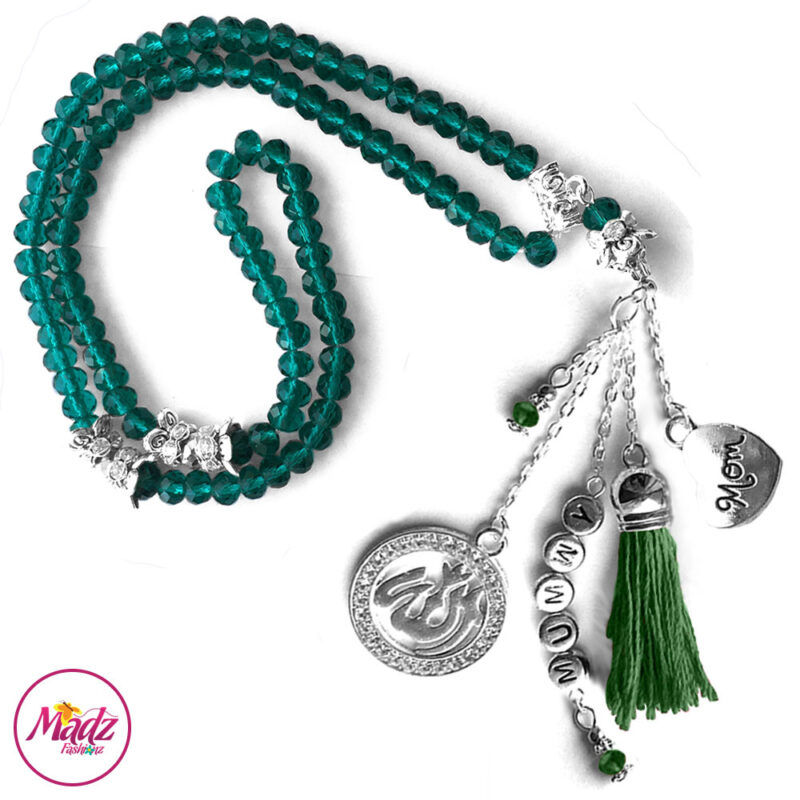 Madz Fashionz UK: 99 Beads Personalised Tasbeeh with Dark Green Crystals in Silver Finish