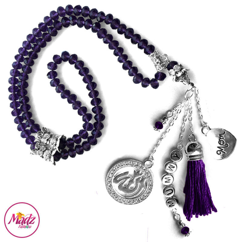 Madz Fashionz UK: 99 Beads Personalised Tasbeeh with Purple Crystals in Silver Finish 1