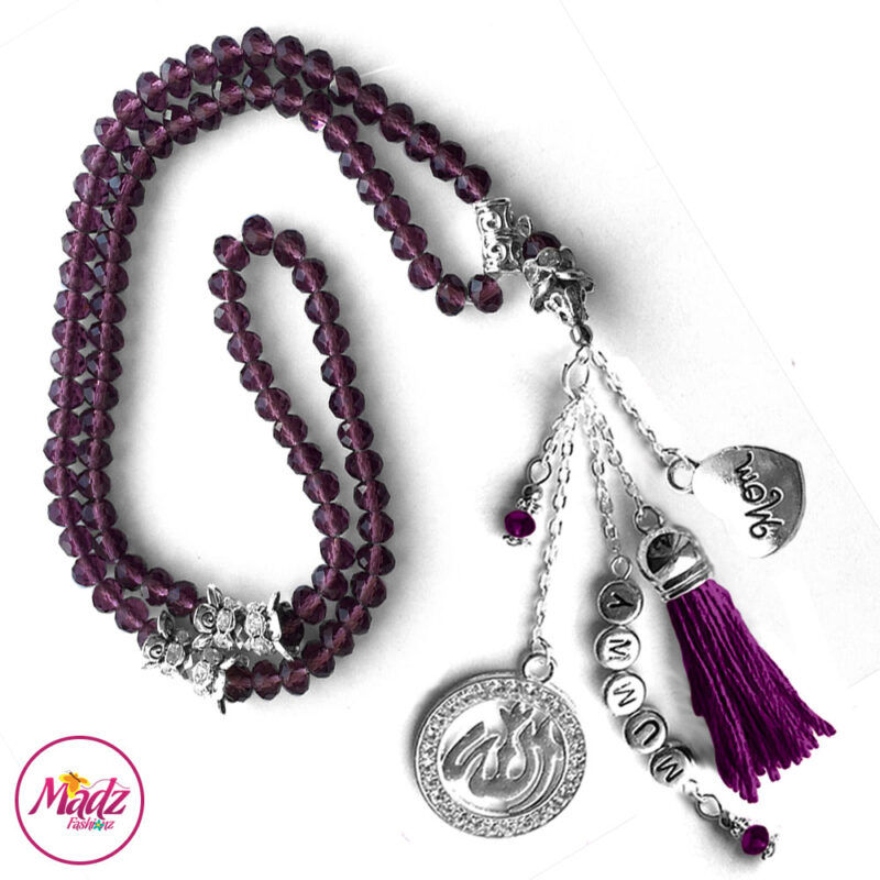 Madz Fashionz UK: 99 Beads Personalised Tasbeeh with Purple Crystals in Silver Finish 2