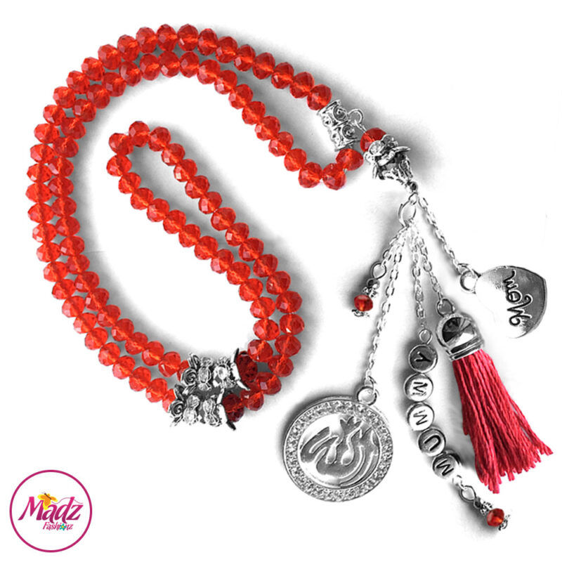 Madz Fashionz UK: 99 Beads Personalised Tasbeeh with Red Crystals in Silver Finish