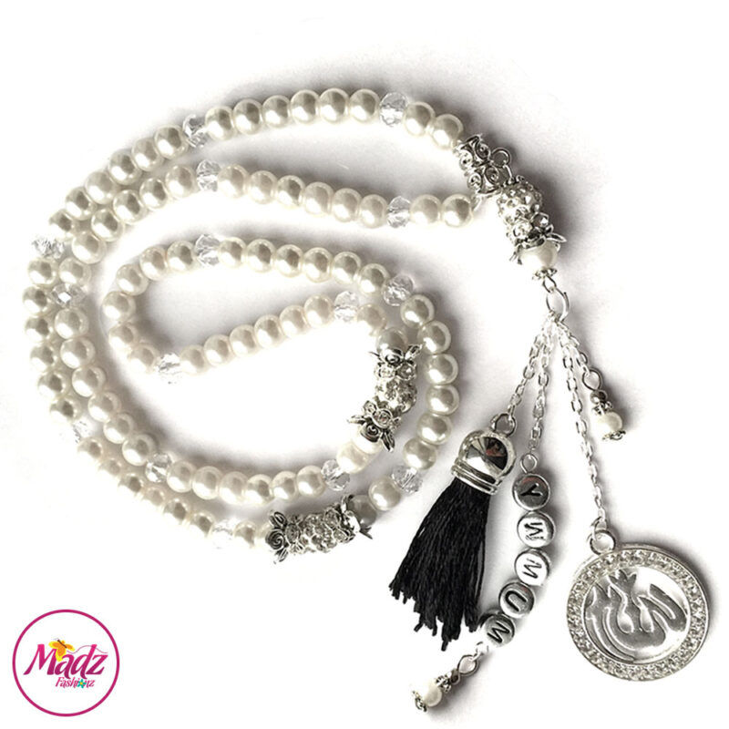 Madz Fashionz UK: 99 Beads Personalised Tasbeeh with White Pearls Crystals in Silver Finish