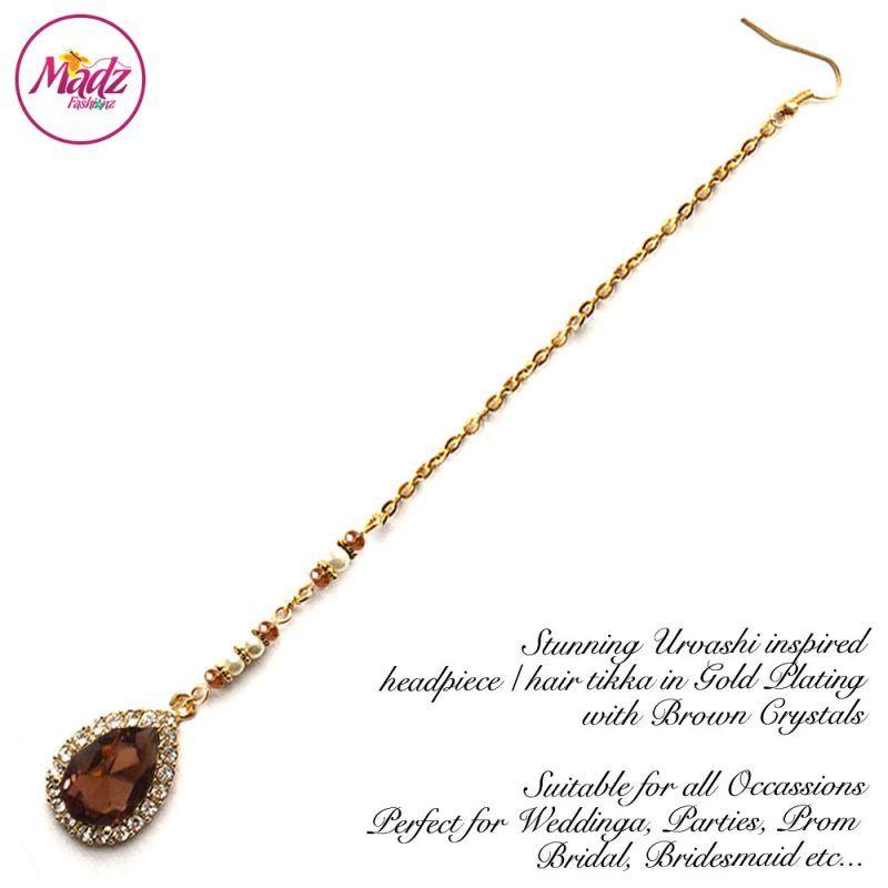 Madz Fashionz UK: Urvashi Rautela Kundan Crystal Stones Gold Maang Tikka Hair Tikka Gold Brown