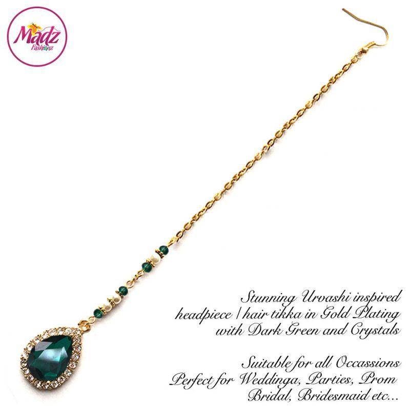 Madz Fashionz UK: Urvashi Rautela Kundan Crystal Stones Gold Maang Tikka Hair Tikka Gold Green Dark