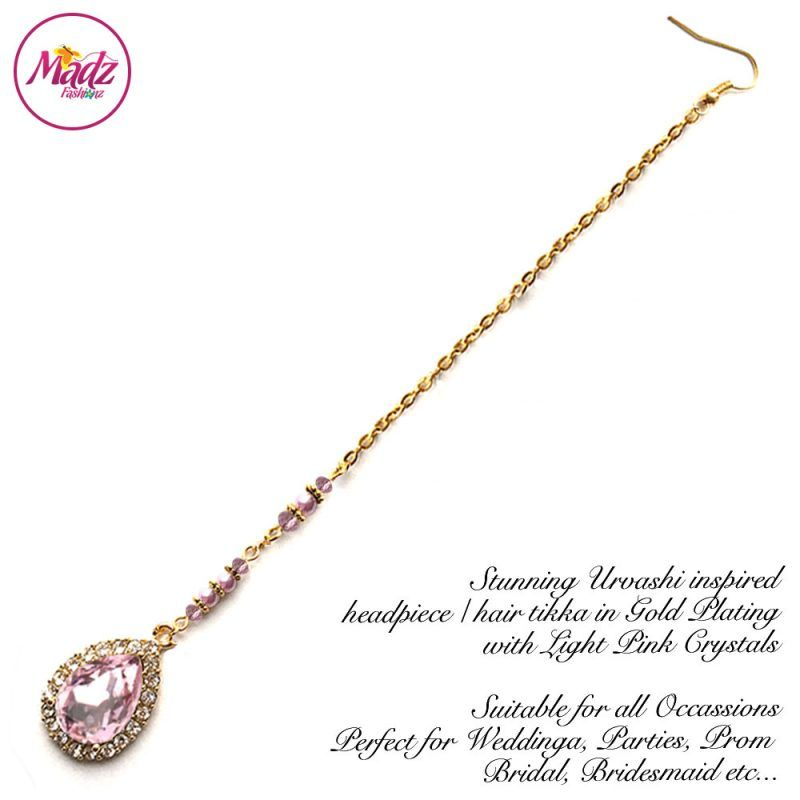 Madz Fashionz UK: Urvashi Rautela Kundan Crystal Stones Gold Maang Tikka Hair Tikka Gold Light Pink