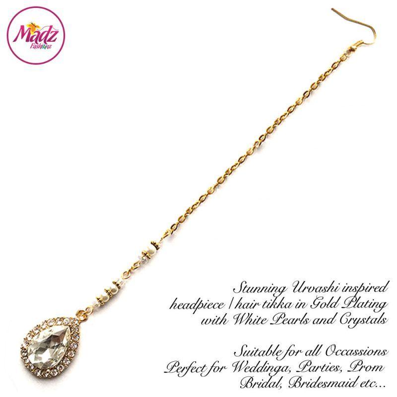 Madz Fashionz UK: Urvashi Rautela Kundan Crystal Stones Gold Maang Tikka Hair Tikka Gold White