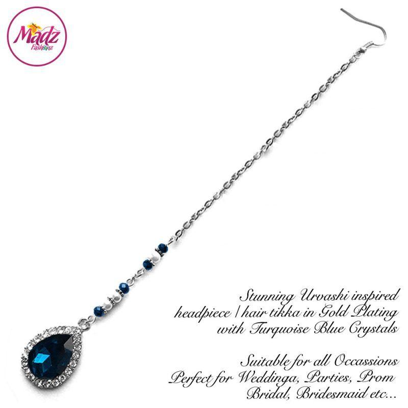 Madz Fashionz UK: Urvashi Rautela Kundan Crystal Stones Gold Maang Tikka Hair Tikka Silver Turquoise Blue