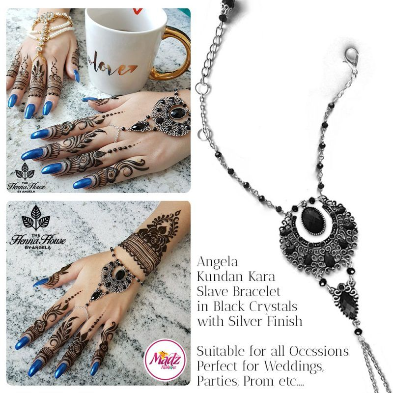 Madz Fashionz UK: Hennabyang Angela Traditional Kundan Crystal Handchain slave bracelet hand jewels Silver Black