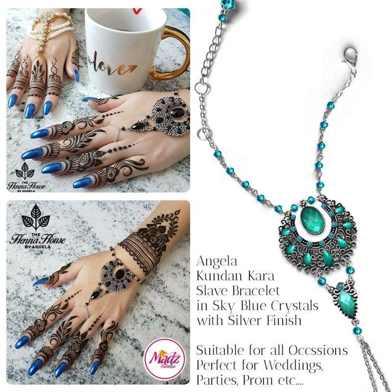 Madz Fashionz UK: Hennabyang Angela Traditional Kundan Crystal Handchain slave bracelet hand jewels Silver Sky Blue