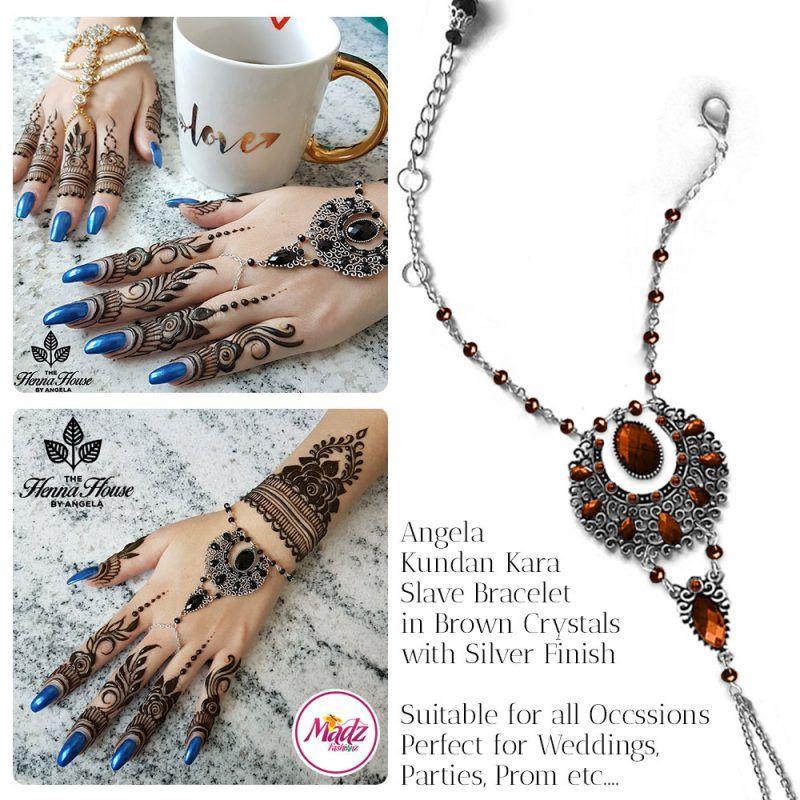 Madz Fashionz UK: Hennabyang Angela Traditional Kundan Crystal Handchain slave bracelet hand jewels Silver Brown