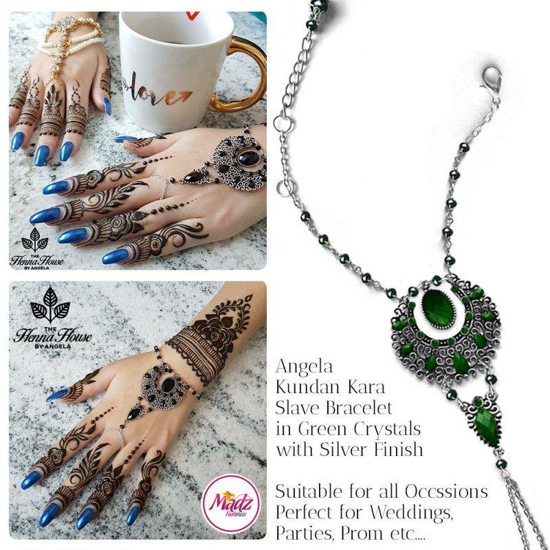 Madz Fashionz UK: Hennabyang Angela Traditional Kundan Crystal Handchain slave bracelet hand jewels Silver Green Dark