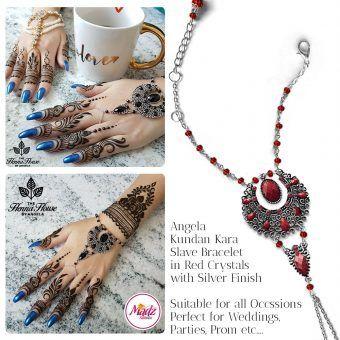 Madz Fashionz UK: Hennabyang Angela Traditional Kundan Crystal Handchain slave bracelet hand jewels Silver Red