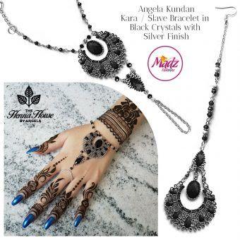 Madz Fashionz UK: Hennabyang Angela Traditional Kundan Crystal Hand chain Slave Bracelet Tikka Set Silver Black
