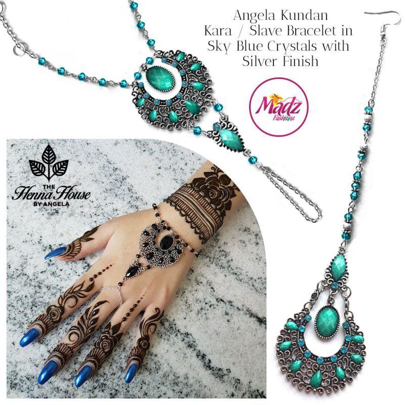 Madz Fashionz UK: Hennabyang Angela Traditional Kundan Crystal Hand chain Slave Bracelet Tikka Set Silver Sky Blue