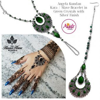 Madz Fashionz UK: Hennabyang Angela Traditional Kundan Crystal Hand chain Slave Bracelet Tikka Set Silver Green