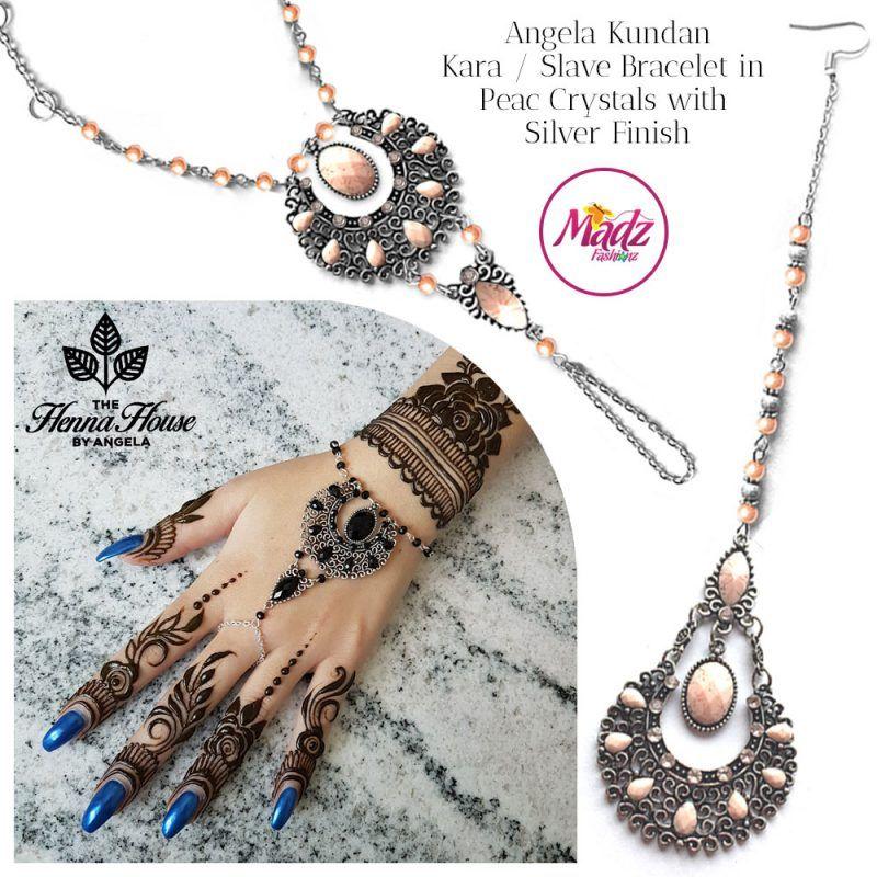 Madz Fashionz UK: Hennabyang Angela Traditional Kundan Crystal Hand chain Slave Bracelet Tikka Set Silver Peach