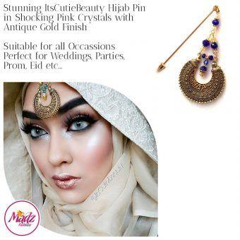 Madz Fashionz UK: ItsCutieBeauty Kundan Hijab Pin Stick Pin Hijab Jewels Hijab Pins Antique Gold Royal Blue