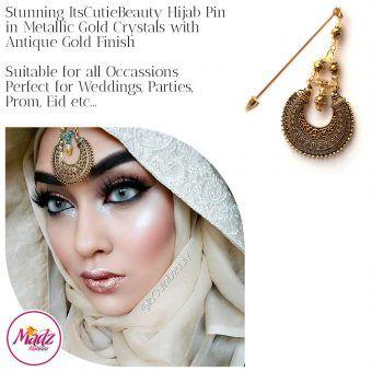 Madz Fashionz UK: ItsCutieBeauty Kundan Hijab Pin Stick Pin Hijab Jewels Hijab Pins Antique Gold Metallic Gold Neutral