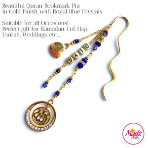 Madz Fashionz UK: Personalised Quran Bookmarks Pins Gifts in Royal Blue Crystals with Gold Finish