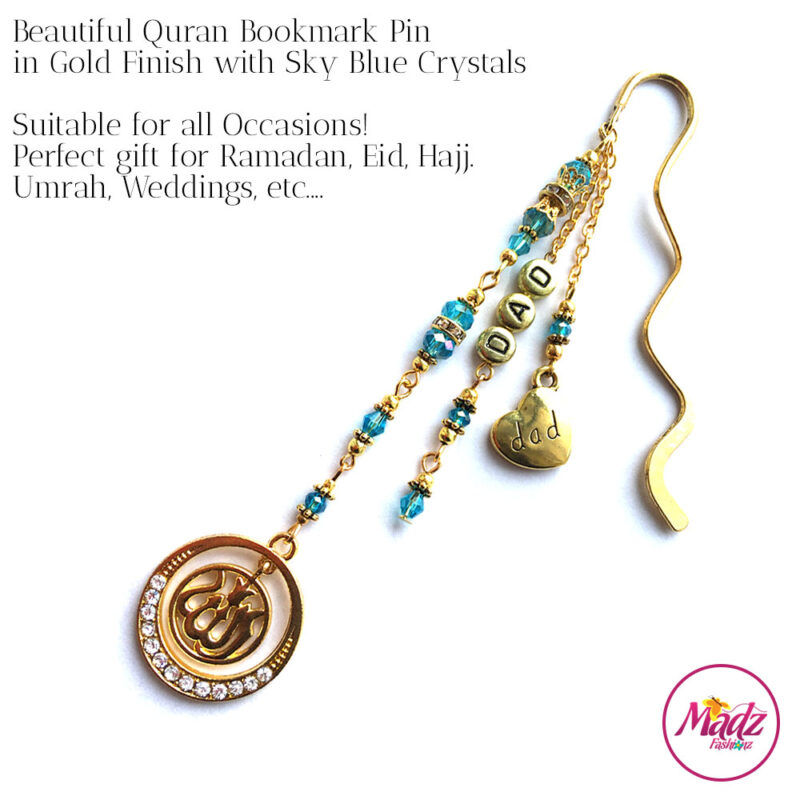 Madz Fashionz UK: Personalised Quran Bookmarks Pins Gifts in Sky Blue Crystals with Gold Finish