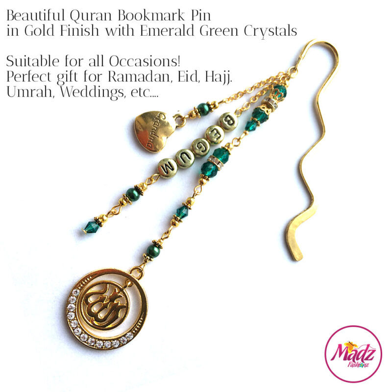 Madz Fashionz UK: Personalised Quran Bookmarks Pins Gifts in Emerald Green Crystals with Gold Finish