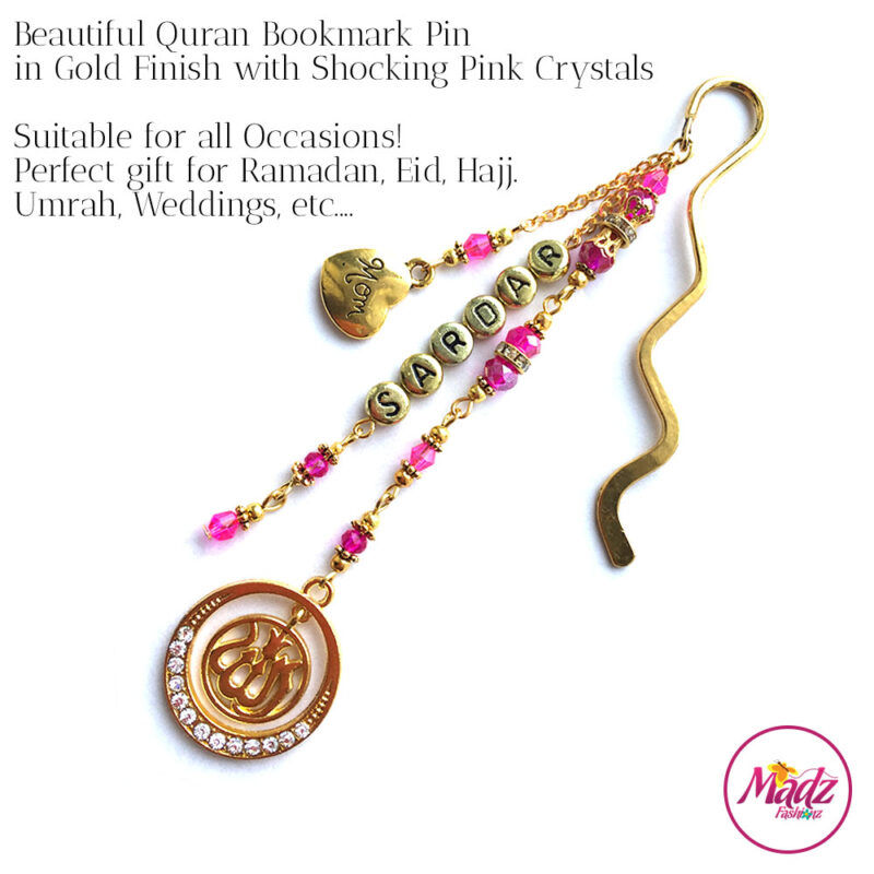 Madz Fashionz UK: Personalised Quran Bookmarks Pins Gifts in Shocking Pink Crystals with Gold Finish