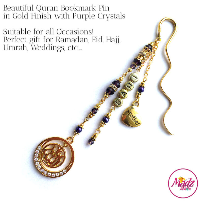 Madz Fashionz UK: Personalised Quran Bookmarks Pins Gifts in Purple Crystals with Gold Finish