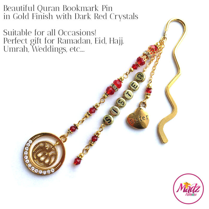 Madz Fashionz UK: Personalised Quran Bookmarks Pins Gifts in Red Crystals with Gold Finish
