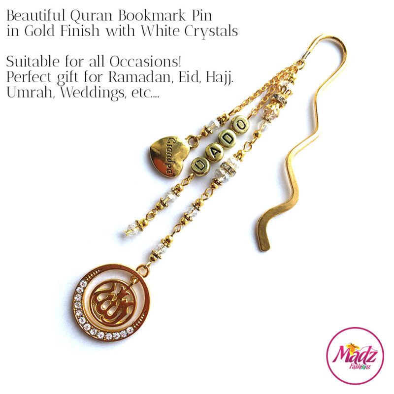 Madz Fashionz UK: Personalised Quran Bookmarks Pins Gifts in White Crystals with Gold Finish